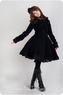 Black Wool Blended Woolen Doll Collar BlackLace Trim Button Bow Lolita Coat