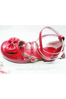 Red Heart Bow PU Sweet Lolita Shoes