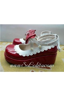 Red Wine and White Bow PU Sweet Lolita Shoes