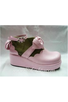 Pink Bow Thick Bottom Cross Bow PU Sweet Lolita Shoes