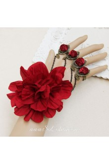 Gorgeous Four Red Rose and A Big Flower Lolita Bracelet