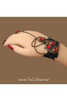 Gothic Fashion Black Lace Red Diamond Detailing Lolita Bracelet