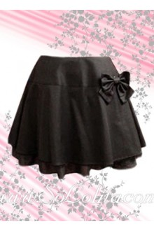 Bow Black Multilayers Sweet Lolita Skirt